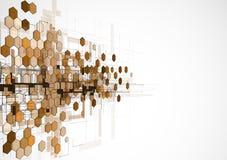 抽象黑褐色六角形背景 免版税库存图片