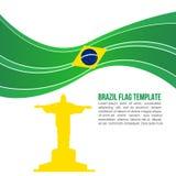 抽象巴西旗子波浪和基督救世主寺庙 免版税库存照片