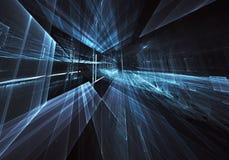 抽象3D分数维背景,纹理 真正霓虹城市 库存例证