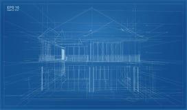 抽象3D回报大厦wireframe结构 向量例证