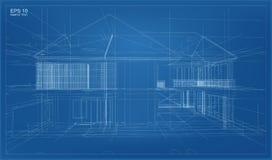 抽象3D回报大厦wireframe结构 库存例证