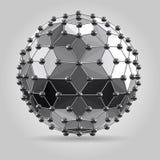抽象3d在与球形连接线的球上雕琢平面 图库摄影