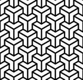 抽象3d求在黑白的几何无缝的样式,传染媒介的立方 免版税库存图片