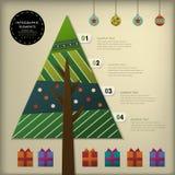 抽象3d纸圣诞树infographics 免版税库存照片