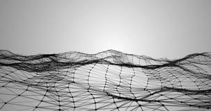 抽象3d翻译,在灰色梯度背景,几何形状的技术结节黑色动态数字式表面运动 向量例证