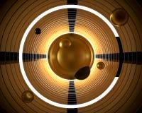 抽象3d背景例证 几何金黄镀金料 库存例证