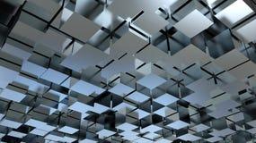 抽象3D金属立方体背景 免版税库存图片