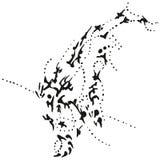 抽象b潜水的风格化w鲸鱼 库存图片