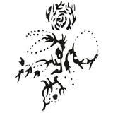 抽象b玫瑰色茎风格化w 免版税库存照片