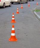抽象barier锥体详细资料堆路安全 免版税库存图片