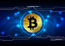 抽象bitcoin数字式货币背景,未来派数字式 免版税库存图片