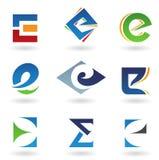 抽象e图标在类似于上写字 库存例证