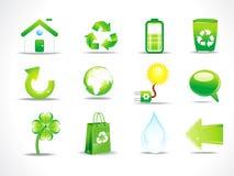 抽象eco图标集 库存照片