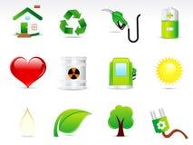 抽象eco绿色图标集 图库摄影