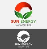 抽象Eco绿色叶子&红色太阳商标 库存例证