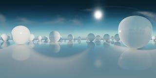抽象HDRI环境地图,球状全景背景,与蓝天3d equirectangular翻译的光源翻译 免版税库存图片