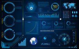 抽象hud接口智力技术创新系统运作的概念 免版税库存图片