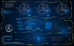抽象HUD接口UI聪明的智力计算机显示器模板背景 库存照片