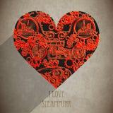 抽象steampunk心脏 Steampunk样式 免版税库存图片