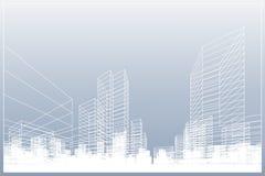 抽象wireframe城市背景 透视3D回报大厦wireframe 向量 向量例证