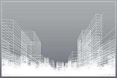 抽象wireframe城市背景 透视3D回报大厦wireframe 向量例证