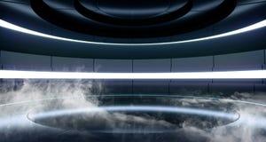 抽雾太空飞船背景科学幻想小说未来派现代外籍人室霍尔发光的蓝色紫罗兰色霓虹灯萤光充满活力的阶段 皇族释放例证