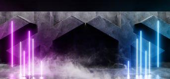 抽黑暗的充满活力的线霓虹减速火箭的萤光在具体难看的东西X被塑造的室的激光虚拟现实紫色蓝色发光的光 皇族释放例证