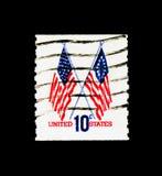 担任主角和13面星旗子, 1970-1974规则问题serie,大约1973年 免版税库存图片