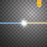 担任主角碰撞和爆炸光线影响,在透明背景的stardust围拢的霓虹光亮的激光碰撞 免版税库存图片