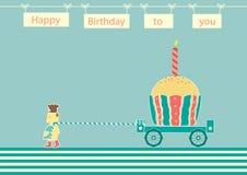 负担厨师与杯形蛋糕生日,生日贺卡的设计 库存照片