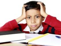 担心的孩子在学校 免版税库存照片