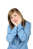 担心的美丽的十几岁的女孩 图库摄影