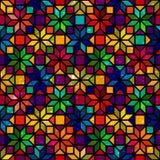 担任主角形状五颜六色的几何彩色玻璃无缝的样式,传染媒介 库存照片