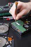 拆卸的磁盘驱动器紧密  免版税库存照片