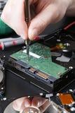 拆卸的磁盘驱动器紧密  免版税库存图片