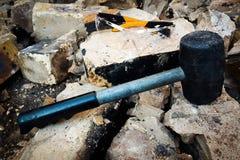 拆毁橡胶的锤子 库存照片