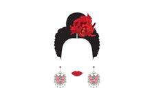 拉丁妇女画象或现代西班牙语,西班牙遮遮掩掩的传统表示法名叫连披肩之头纱,佛拉明柯舞曲舞蹈家, 皇族释放例证