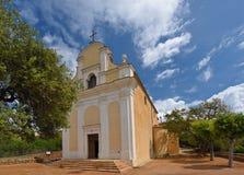 拉丁教会在科西嘉岛希腊村庄Cargese 库存照片