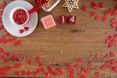 拉丁文的红心情人节概念 免版税库存照片
