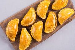 拉丁美洲的被烘烤的牛肉empanadas用调味汁 图库摄影