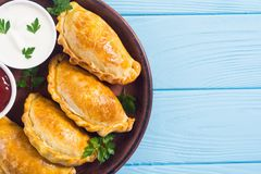 拉丁美洲的被烘烤的牛肉empanadas用调味汁 免版税图库摄影
