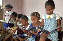 拉丁美洲人哄骗读书画书易生气,巴西 库存照片