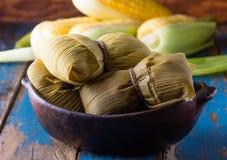 拉丁美洲的食物 玉米传统自创humitas  免版税库存图片