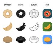 拉伊圆的面包,新月形面包,法国大面包,袋子面包 在动画片,黑色,概述的面包集合汇集象,平 免版税库存图片