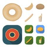 拉伊圆的面包,新月形面包,法国大面包,袋子面包 在动画片,平的样式传染媒介的面包集合汇集象 图库摄影