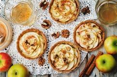 拉伊果子馅饼用苹果、桂香、蜂蜜和核桃 免版税图库摄影