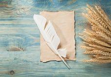 拉伊麦子耳朵葡萄酒在木板的羊皮纸羽毛 库存照片