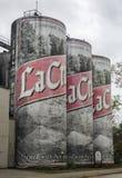 拉克罗斯贮藏啤酒储存箱被塑造象6盒啤酒罐 库存照片