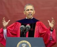 贝拉克・奥巴马总统讲话在250th周年罗格斯大学开始 库存图片