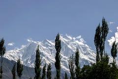 拉卡波希峰,喀喇昆仑山脉山脉在巴基斯坦 库存照片